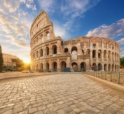 The Colosseum or Flavian Amphitheatre (Amphitheatrum Flavium or Colosseo), Rome, Italy.