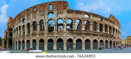 The Colosseum Panorama in Rome Italy