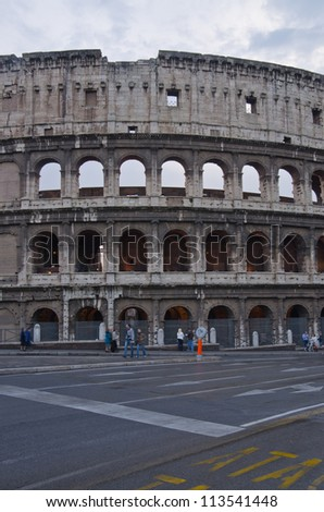 The Colosseum, place of bloody hand-to-hand fight of the Roman gladiators. Rome, Italy.