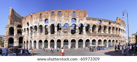 The Colosseum, the world famous landmark in Rome, Italy.Panorama