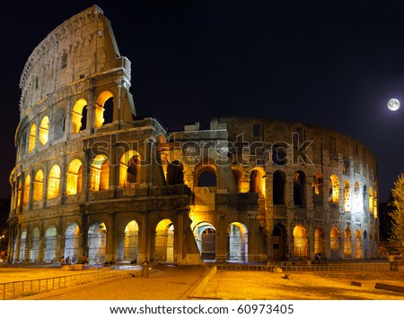 The Colosseum, the world famous landmark in Rome.  Night view .Panorama