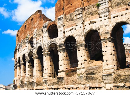 the colosseum with blue sky, Rome, Italy