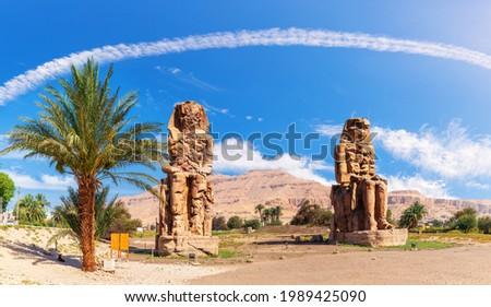 TheColossi of Memnon in the Theban Necropolis of Luxor, Egypt Stock photo ©