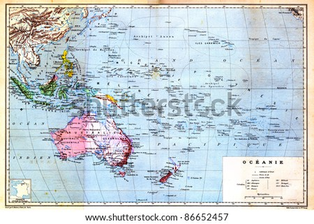 The colourful Map of Oceania with islands circled on the map. Old vintage map from the late 19th century, Trousset encyclopedia (1886 - 1891). - stock photo