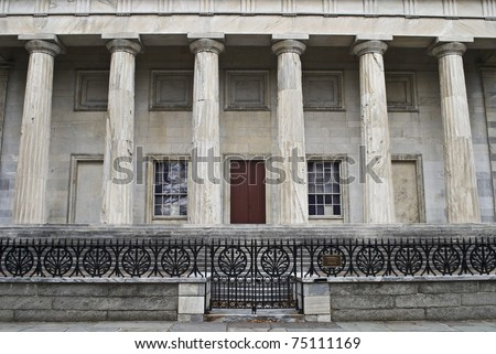The columns of the Second Bank of America in historic old city Philadelphia, Pennsylvania.