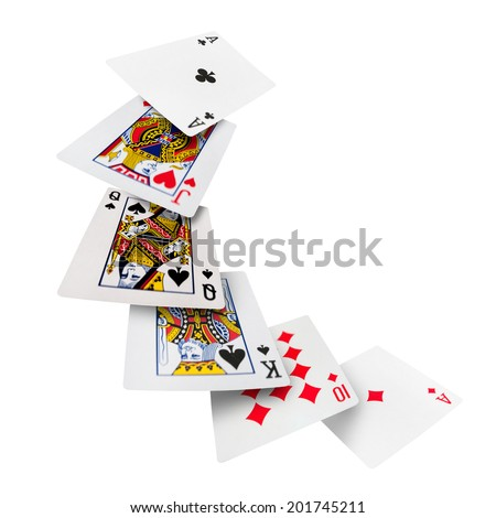 The combination of playing cards poker casino Isolated on white background