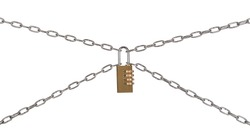 The Combination padlock and chains isolated on a white background.