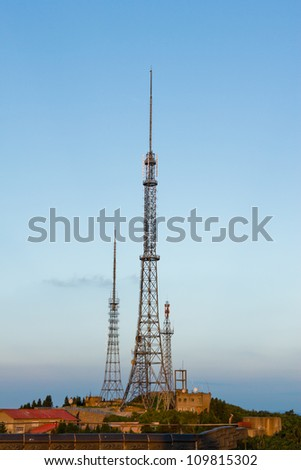 The communications tower, in the beautiful sky, China