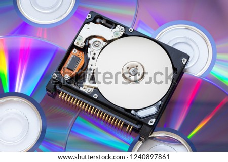 """The compact hard disk form factor 1.8 """" with the lid open, lying on a stack of optical disks"""