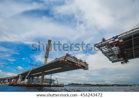 The completion of the bridge across the river. Cable. bottom vie stock photo