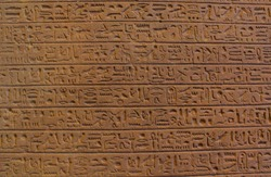 The complex Egyptian ancient hieroglyphic script, among the earliest form of writing in Egypt .