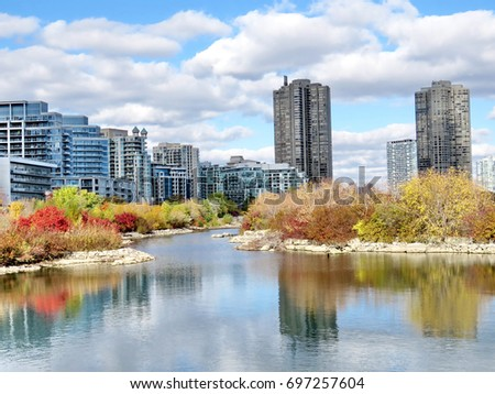 The complex of buildings Humber Bay on bank of the Lake Ontario in Toronto, Canada, November 4, 2016                                  #697257604