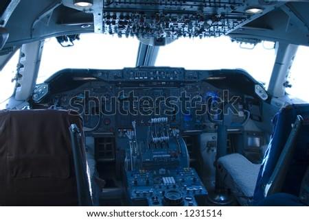 The complex world of a 747 jumbo-jet cockpit. Сток-фото ©