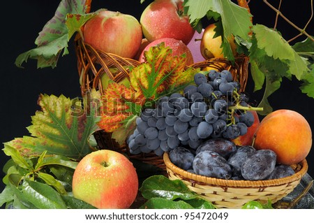 The composition from various fruit is decorated by autumn leaves of grapes.