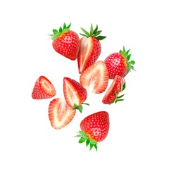 The composition of strawberries on white background. Cut strawberries into pieces with copy space. Fresh natural strawberry isolated. Strawberry slices flying in the air