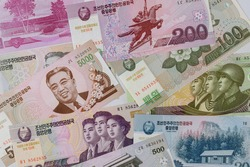 The composition of the various banknotes money won currency North Korean