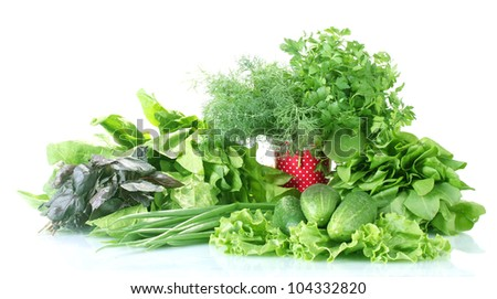 The composition of the various herbs and vegetables isolsted on white