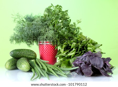 The composition of the various herbs and vegetables on colorful background