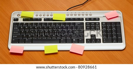 The computer keyboard on a wooden table