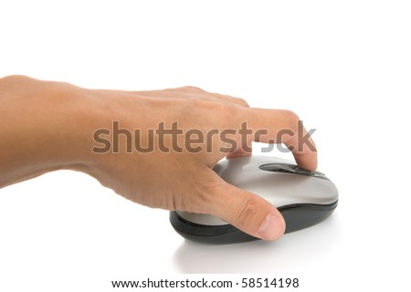 The computer mouse in a hand on a white background