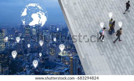 the concept art of social network connect in the business city of people walk on open space concrete pavement from top view ,bird eye view