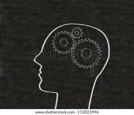 the concept gear in head of the human and the brain written on blackboard background