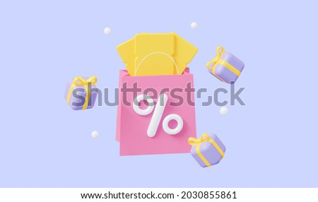 The concept of a promo code. A coupon with flying gifts. For promotion, marketing and advertising in social networks. 3d rendering