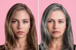 The concept of aging. Comparison of young and old. portrait of a Caucasian woman. beauty treatments and lifting. Before and after the concept. Youth, old age. The process of aging and rejuvenation