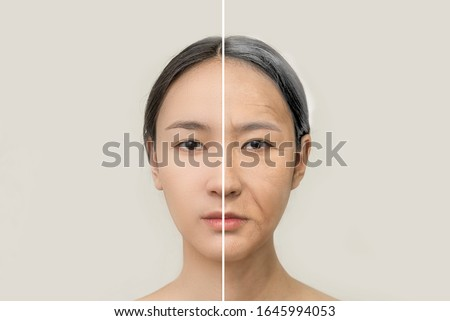 The concept of aging. Comparison of young and old. portrait of an Asian woman. beauty treatments and lifting. Before and after the concept. Youth, old age. Aging and rejuvenation process