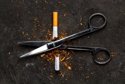 The concept of an exit from nicotine addiction. Man throws a harmful, and unhealthy habit. Stop smoking.
