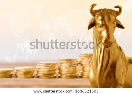 The concept of Bull market on stock market investment good situation. Financial investment in bull market. How to trade in risk valuation situation. Gold Bull with Stock market background