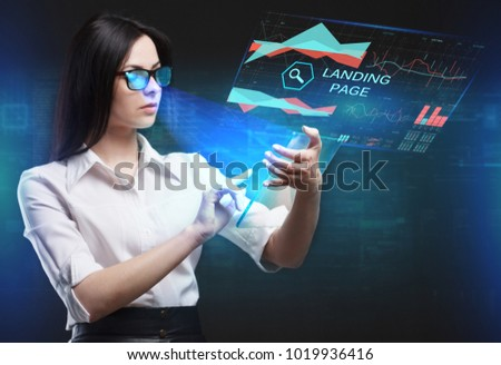 The concept of business, technology, the Internet and the network. A young entrepreneur working on a virtual screen of the future and sees the inscription: Landing page #1019936416