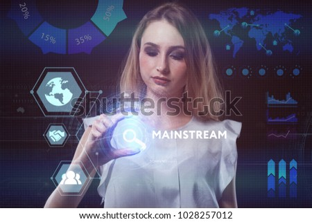 The concept of business, technology, the Internet and the network. A young entrepreneur working on a virtual screen of the future and sees the inscription: Mainstream