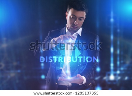 The concept of business, technology, the Internet and the network. A young entrepreneur working on a virtual screen of the future and sees the inscription: Distribution #1285137355