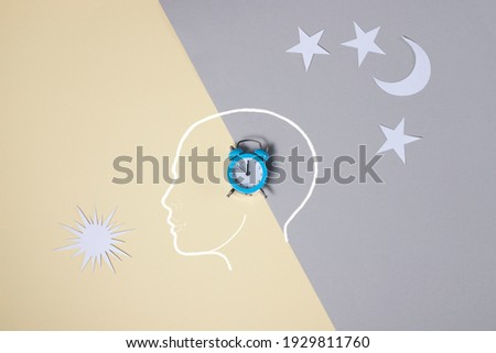 the concept of cercadian rhythms, insomnia, good healthy sleep. in gray and yellow colors. Foto stock ©