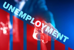 The concept of changing the unemployment rate. The word Unemployment against the background of a declining schedule. Reducing the number of unemployed. Reduce unemployment. Labour market.