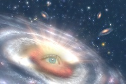 The concept of clairvoyance. A piercing look into the future. Paranormal abilities, clairvoyance, divination. Elements of this image are is furnished by NASA.