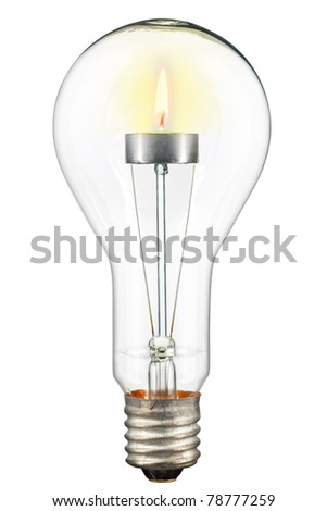 The concept of ecological illumination. A candle in a lamp. Isolated on white [with clipping path].