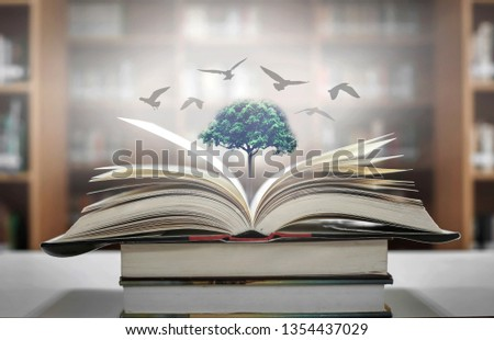 The concept of education by planting a tree of knowledge And birds that fly into the future In the opening of the old book in the library that contains the stack of textbooks that store the text and s #1354437029