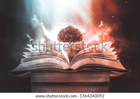 The concept of education by planting a tree of knowledge And birds that fly into the future In the opening of the old book in the library that contains the stack of textbooks that store the text and s #1364340092