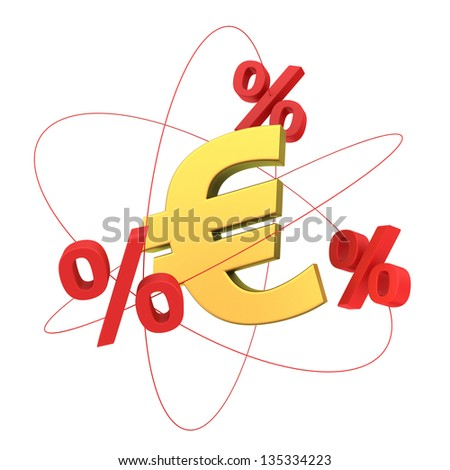 The concept of financial molecule, percents orbiting around the euro symbol