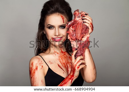 girl covered in blood Sexy