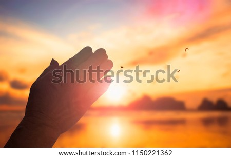 The concept of God's salvation:Human hands open palm up worship Stock foto ©