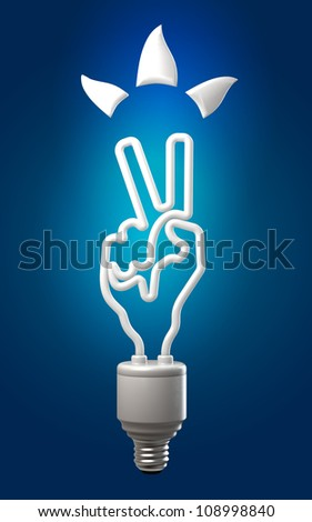 the concept of hand-lamp symbolizing the victory of