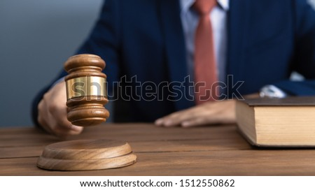 The concept of justice and law. judge in the courtroom with a hammer Foto d'archivio ©