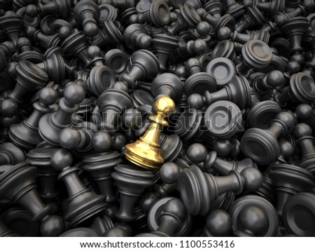 The Concept of Leadership and Individuality. Gold chess pawn on the background of the usual black chess. 3D illustration