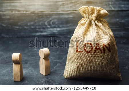 """The concept of """"Loan"""". Businessmen are discussing questions about the company's loans. The financial loans between the lender and the borrower. Secured and mortgage loan. Refinement interest rates"""