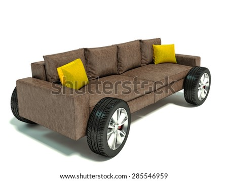 The concept of moving to a new home. Sofa on wheels