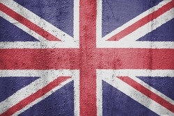 The concept of national flag on metal background: UK
