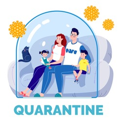 The concept of quarantine self-isolation. The family is sitting on the couch under a glass cap and watching TV. Virus protection. Vector. Flat cartoon style